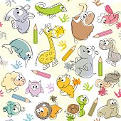 seamless pattern with  kids' drawings of animals