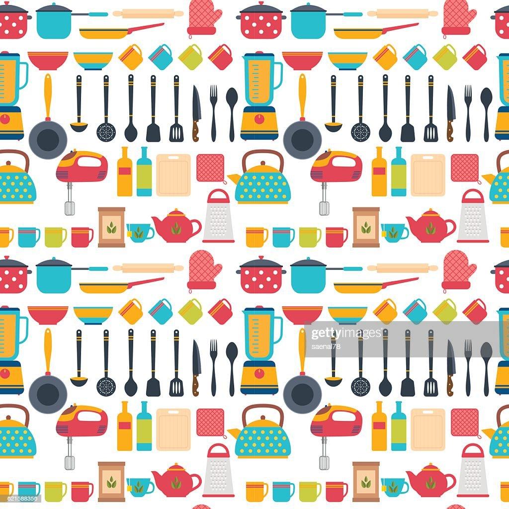 Seamless pattern with kitchen utensils. Home appliances