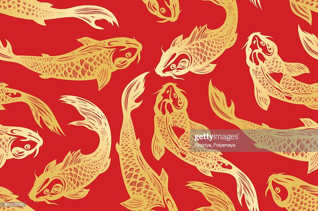 Seamless pattern with koi carp fish.