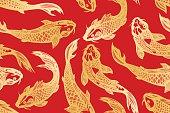 Seamless pattern with koi carp fish.