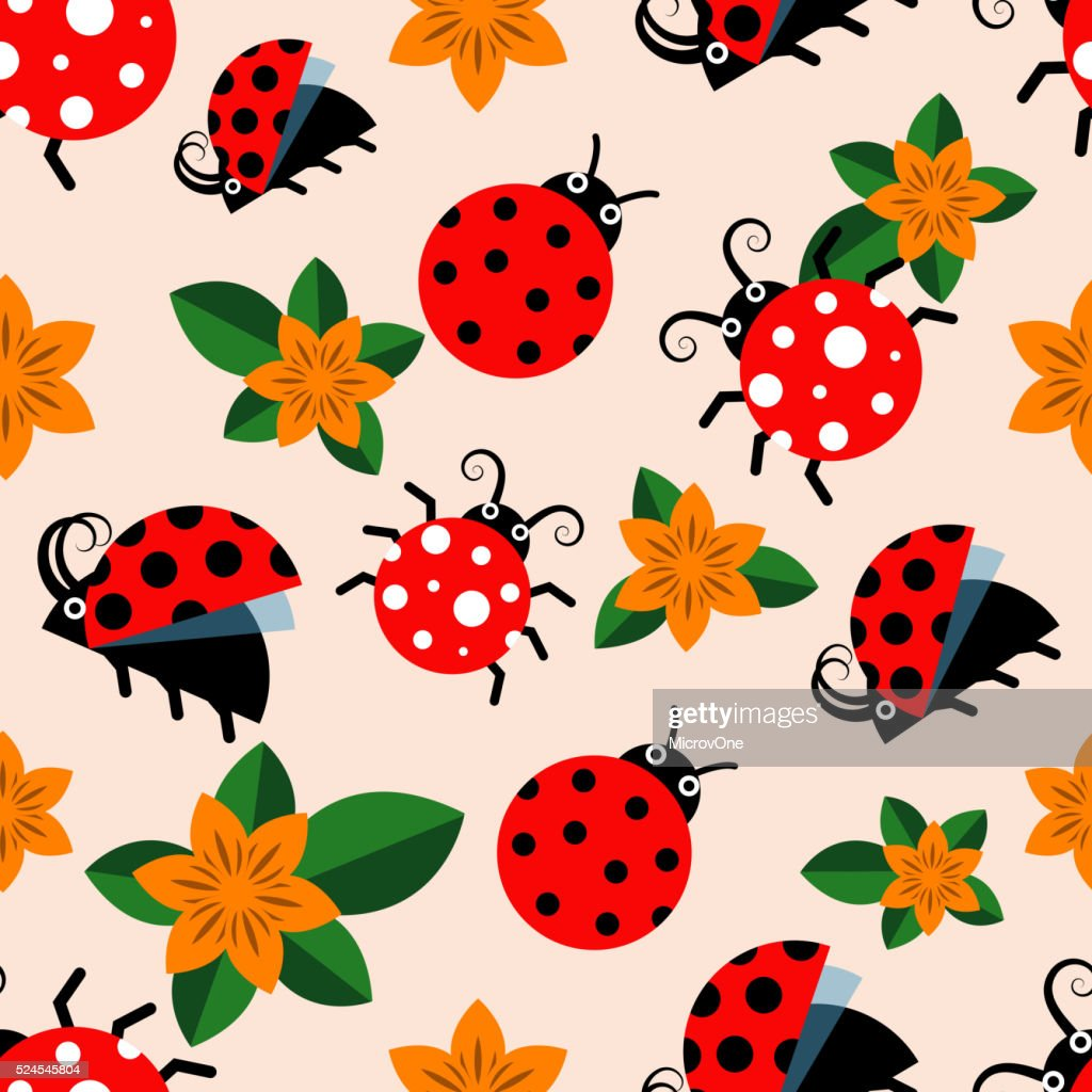 Seamless pattern with ladybugs and flowers