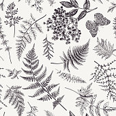 Seamless pattern with leaves and butterfly.