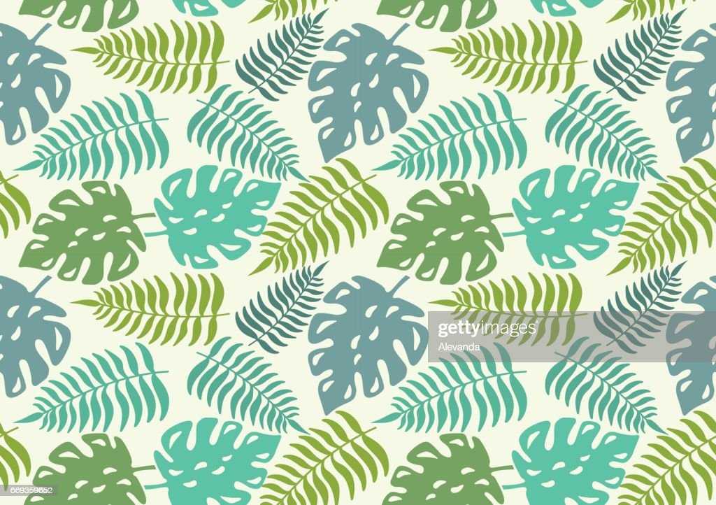 Seamless pattern with leaves of tropical plants. Vector illustration.