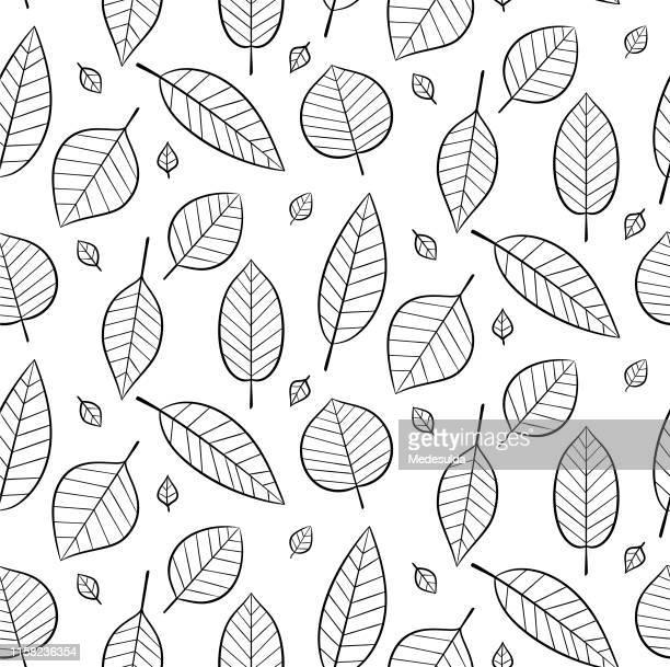 葉とのシームレスなパターン - リーフ柄点のイラスト素材/クリップアート素材/マンガ素材/アイコン素材