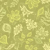 Seamless pattern with leaves