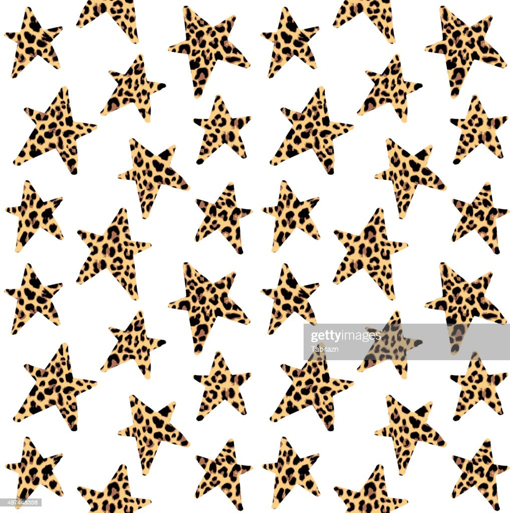 Seamless pattern with leopard stars, trendy rock, punk design, vector