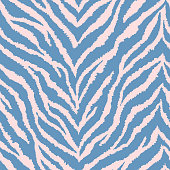 Seamless pattern with light pink and teal blue zebra fur print. Vector illustration. Exotic wild animalistic texture.