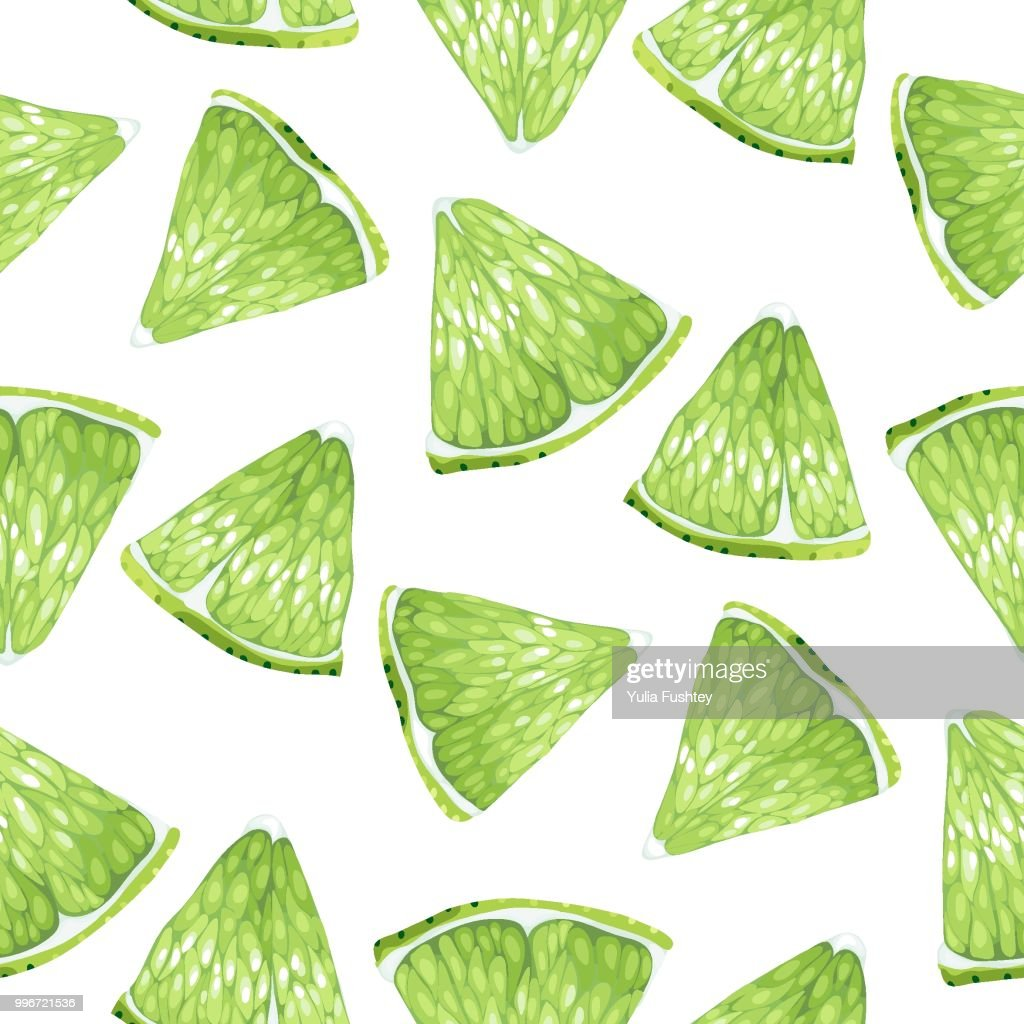 Seamless pattern with lime fruit triangle shape slices made in realistic vector graphic style