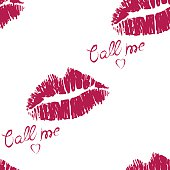 Seamless pattern with lipstick and kiss
