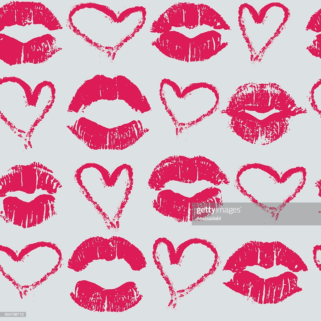 Seamless pattern with lipstick kisses