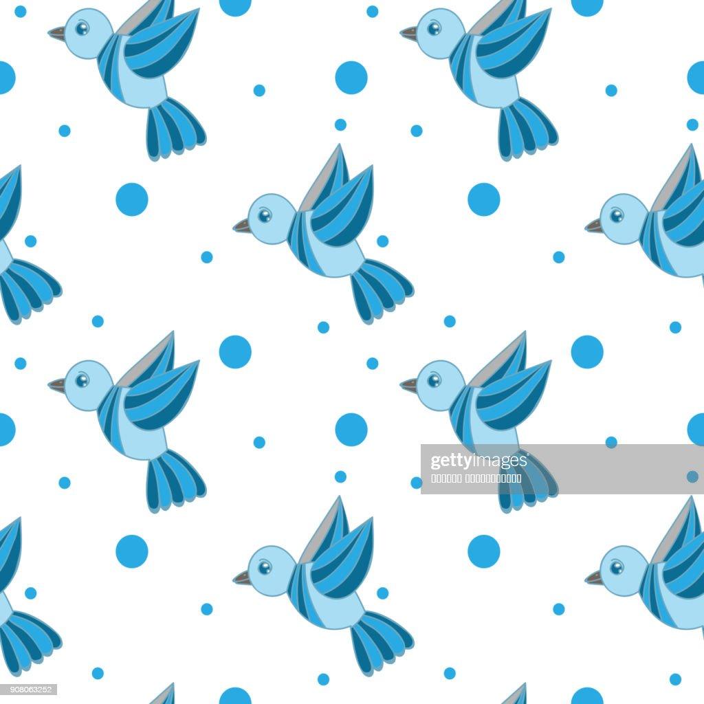Seamless pattern with little blue bird
