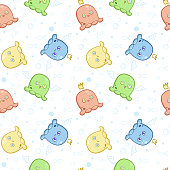 A seamless pattern with little cute monsters for textiles, clothes or scrapbooking. Vector illustration