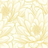 seamless pattern with lotus flowers.