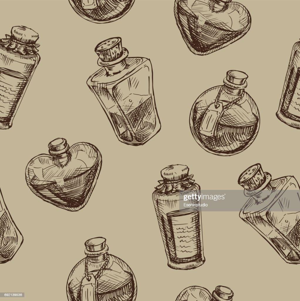 Seamless pattern with magic glass flasks.