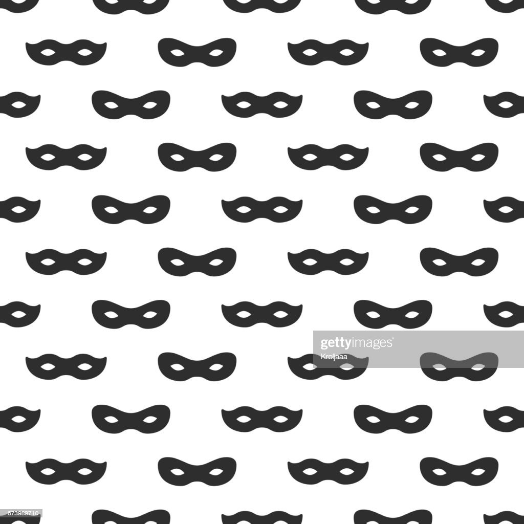 Seamless pattern with mask. Black and white carnival simple design. Superhero mask. Traditional venetian festive carnival icon. Masquerade. Vector illustration. Background. Texture. Symbols pictogram