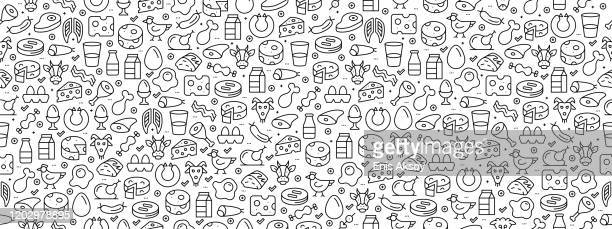 seamless pattern with meat and dairy foods icons - black and white food stock illustrations