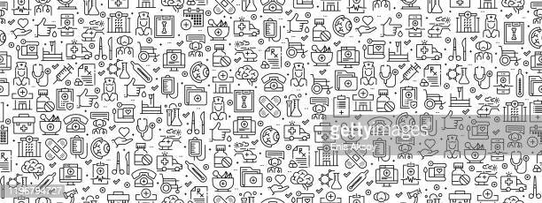 seamless pattern with medicine and health icons - nurse stock illustrations