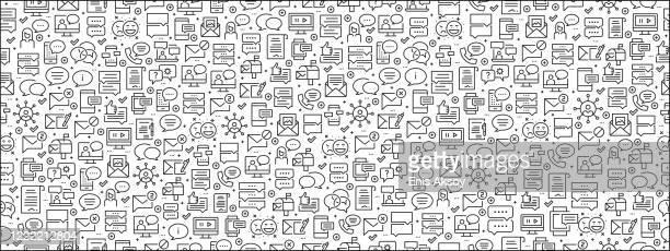 ilustrações de stock, clip art, desenhos animados e ícones de seamless pattern with message icons - comunicação