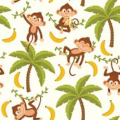 seamless pattern with monkey on palm tree