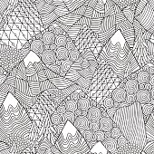 Seamless pattern with mountains. Adult coloring book page.
