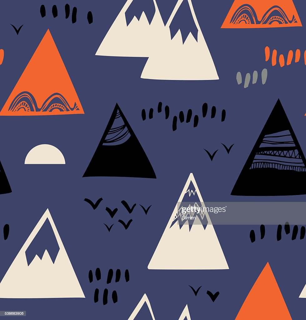 Seamless pattern with mountains, rocks in scandinavian style.