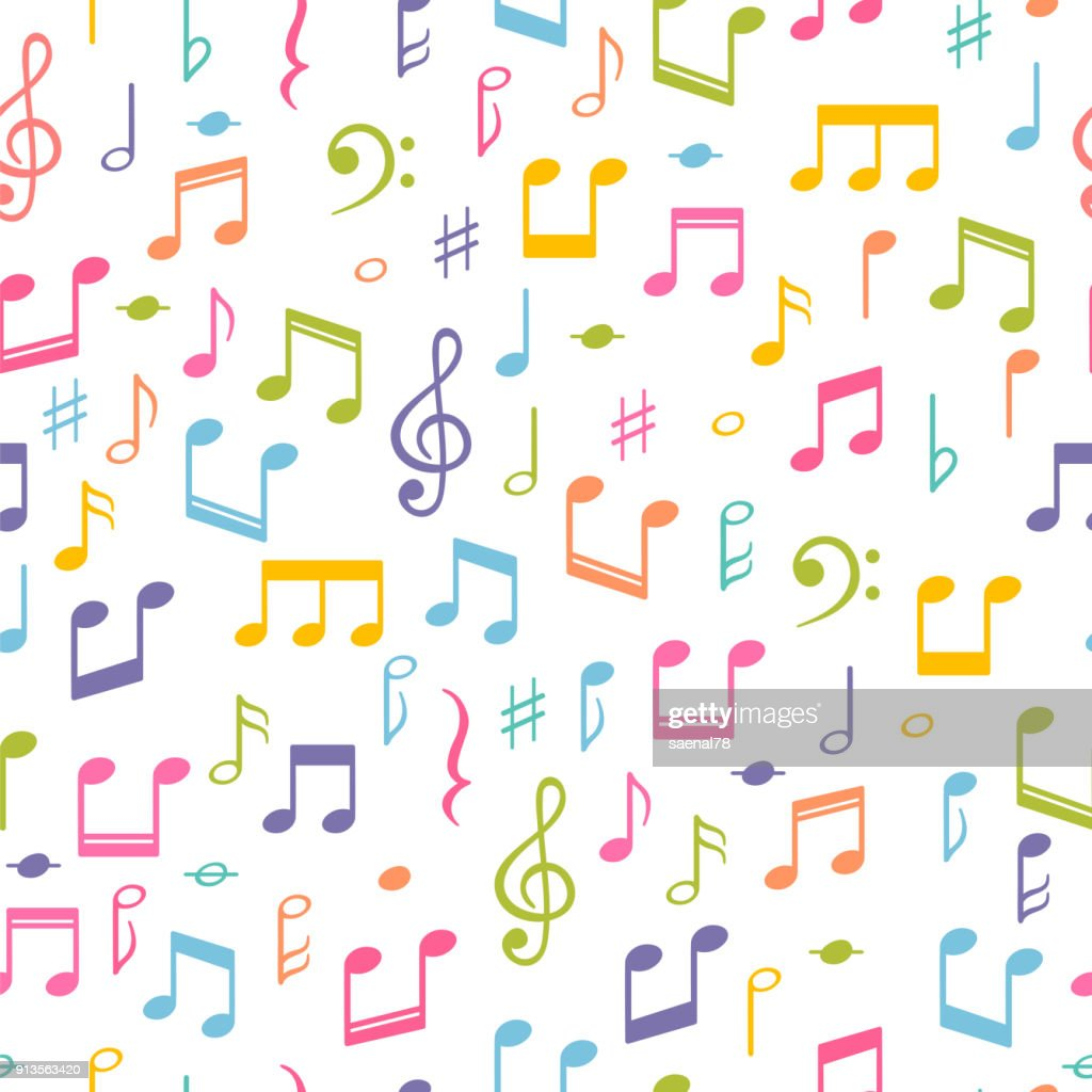 Seamless pattern with music notes. Hand drawn background with music symbols. Melody signs