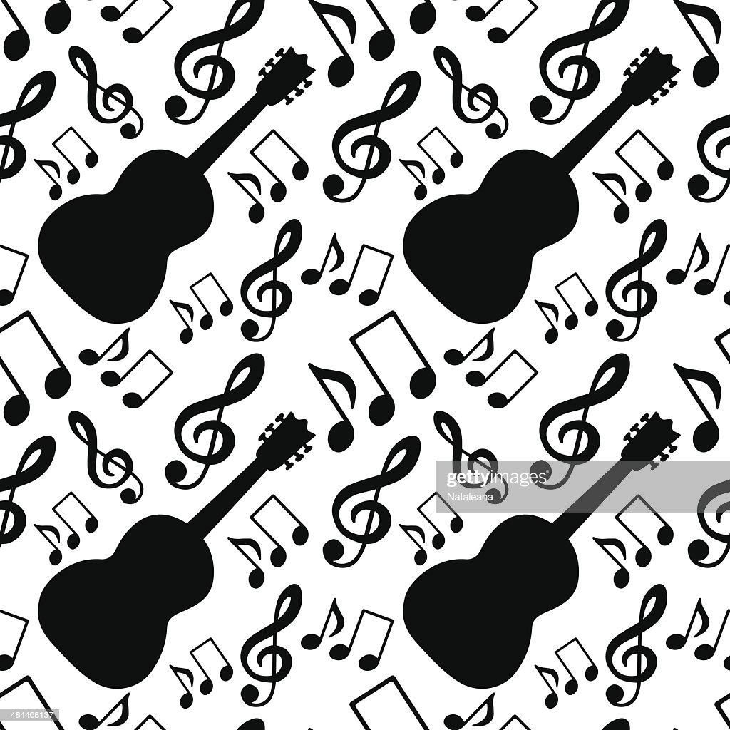 Seamless pattern with musical notes, treble clef, guitar