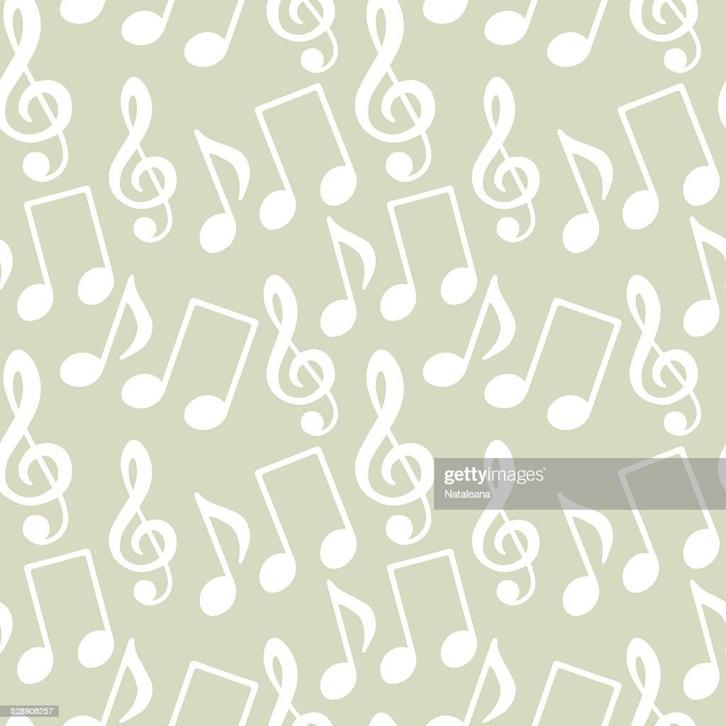 Seamless pattern with musical notes, treble clef