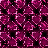 Seamless pattern with neon pink hearts on black background. Valentins Day or love concept. Vector 10 EPS illustration.