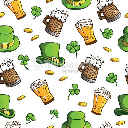 Seamless Pattern With Objects St Patrick S Day Holiday Items Vector
