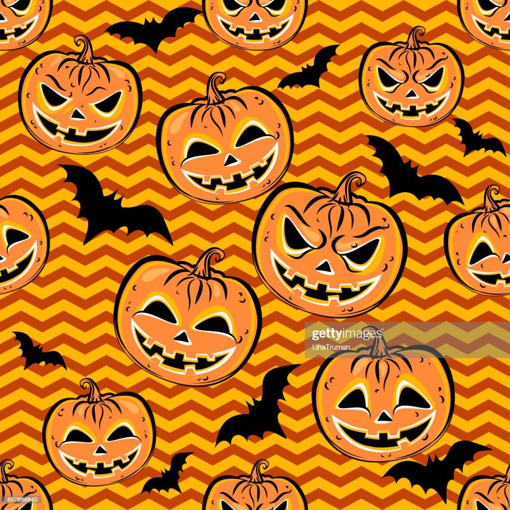 Nahtlose Muster Mit Orange Halloweenkürbisse Und Fledermaus Auf ...