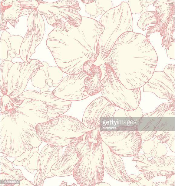 illustrazioni stock, clip art, cartoni animati e icone di tendenza di seamless pattern con orchidee - orchidea