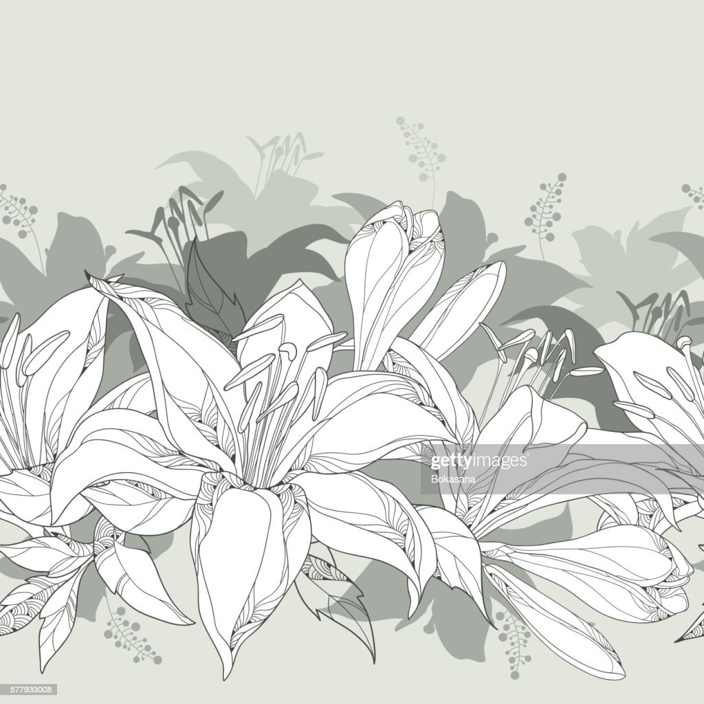 Seamless pattern with ornate white Lily flower, buds and leaves.