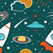 Seamless pattern with outer space, rocket, comet, planets, ufo and