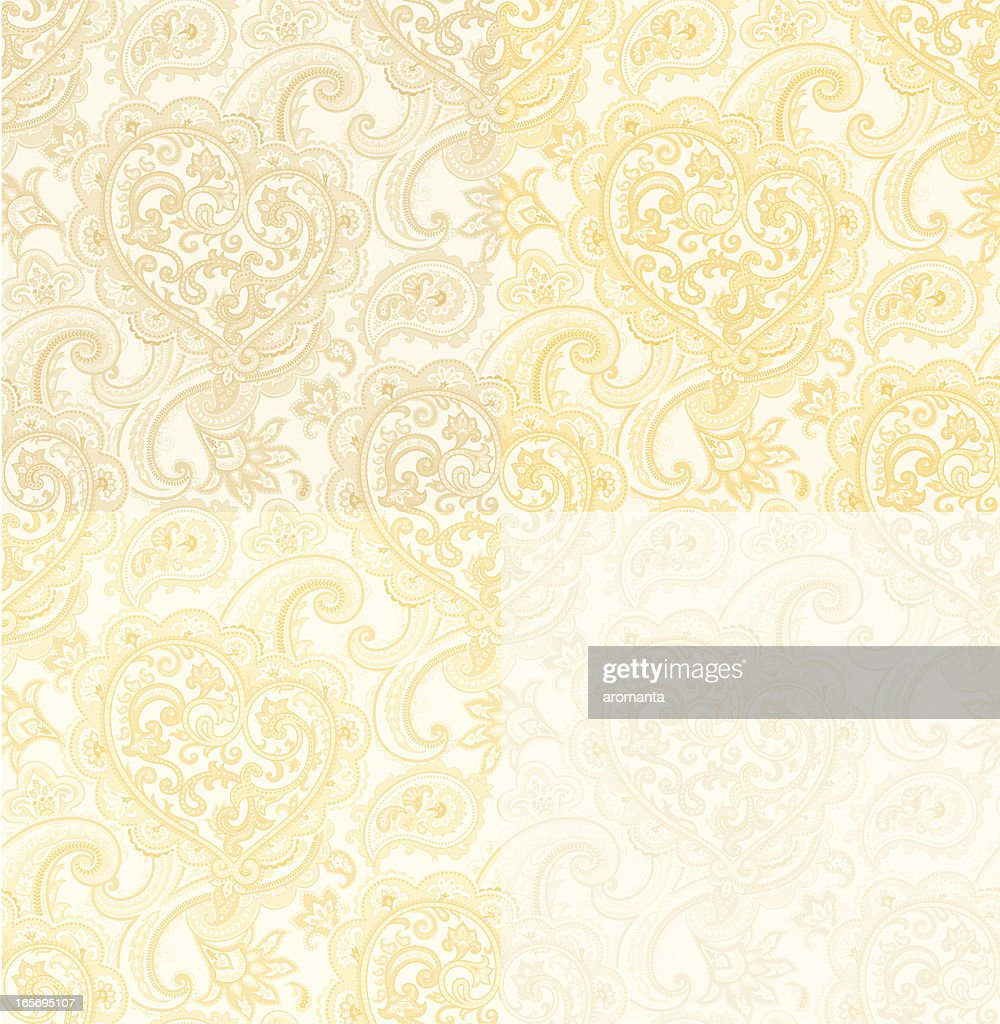 seamless pattern with Paisley and Heart. beige-gold color