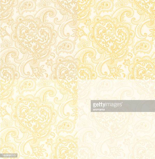 seamless pattern with paisley and heart. beige-gold color - paisley pattern stock illustrations, clip art, cartoons, & icons