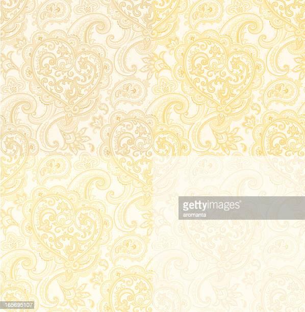 シームレスパターンにペイズリーと heart.ベーシュゴールド色 - ペーズリー点のイラスト素材/クリップアート素材/マンガ素材/アイコン素材