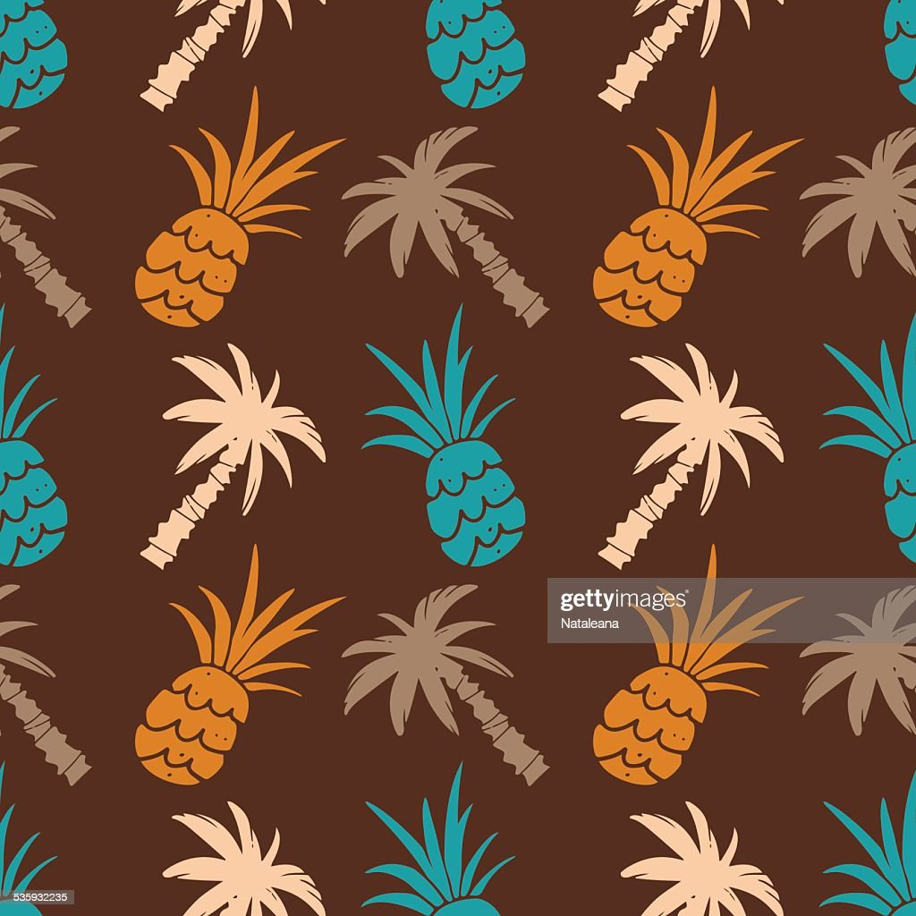 Seamless pattern with palm trees and pineapples : Vector Art