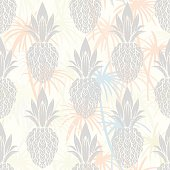 Seamless pattern with palm trees, pineapples