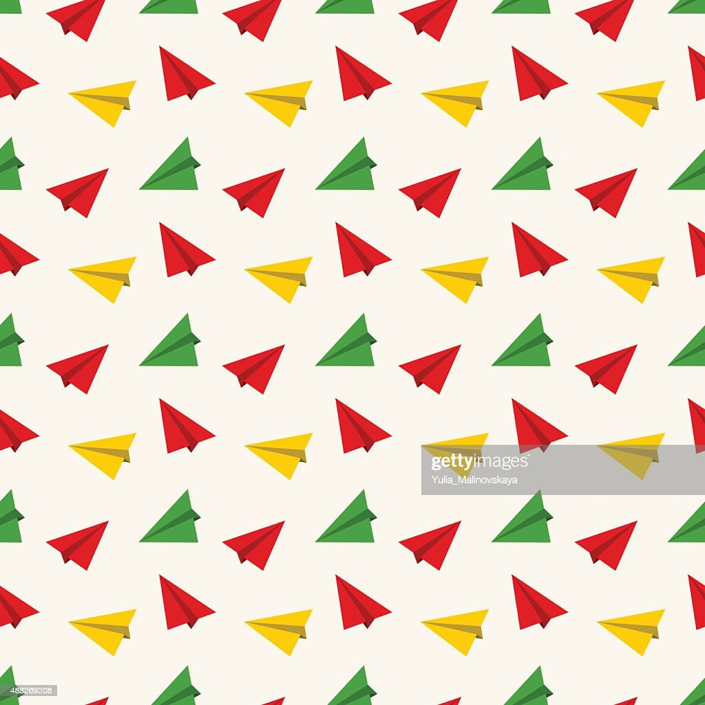 Seamless pattern with paper plane.