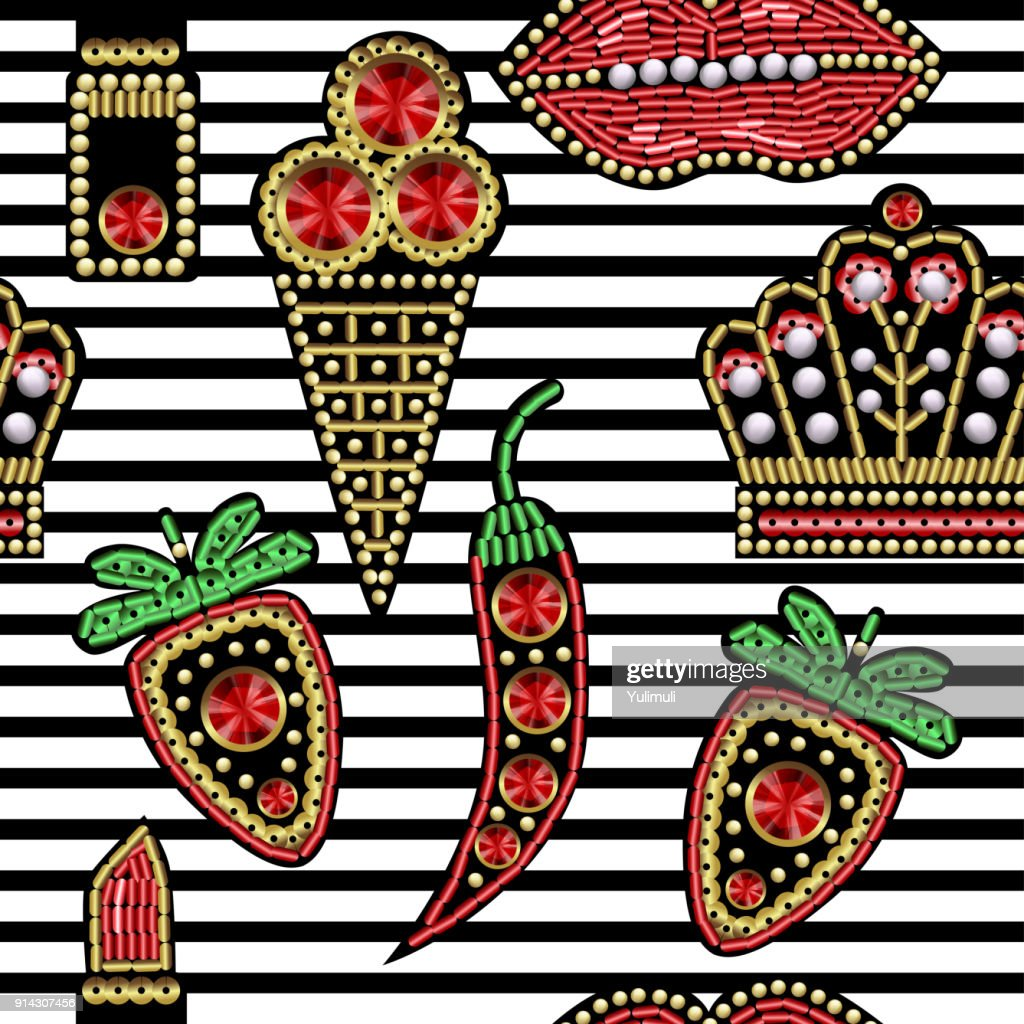 Seamless pattern with patches with sequins and beads.