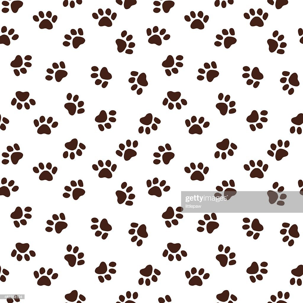 Seamless pattern with paw footprints