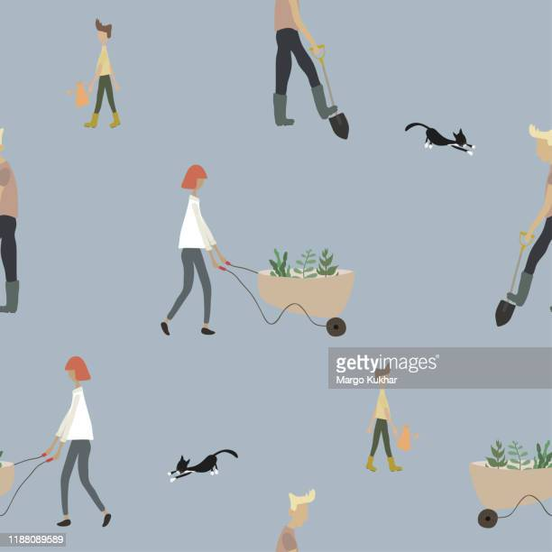 Seamless pattern with people gardening in spring or summer. Cute woman with wheelbarrow, man working with shovel, boy with watering can and cat on blue background. Flat cartoon vector illustration