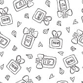Seamless pattern with perfume bottles crystals and hearts. Hand drawn illustration