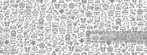 seamless pattern with pets icons - cat food stock illustrations