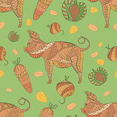 Seamless Pattern with Pig, Veg and Grain