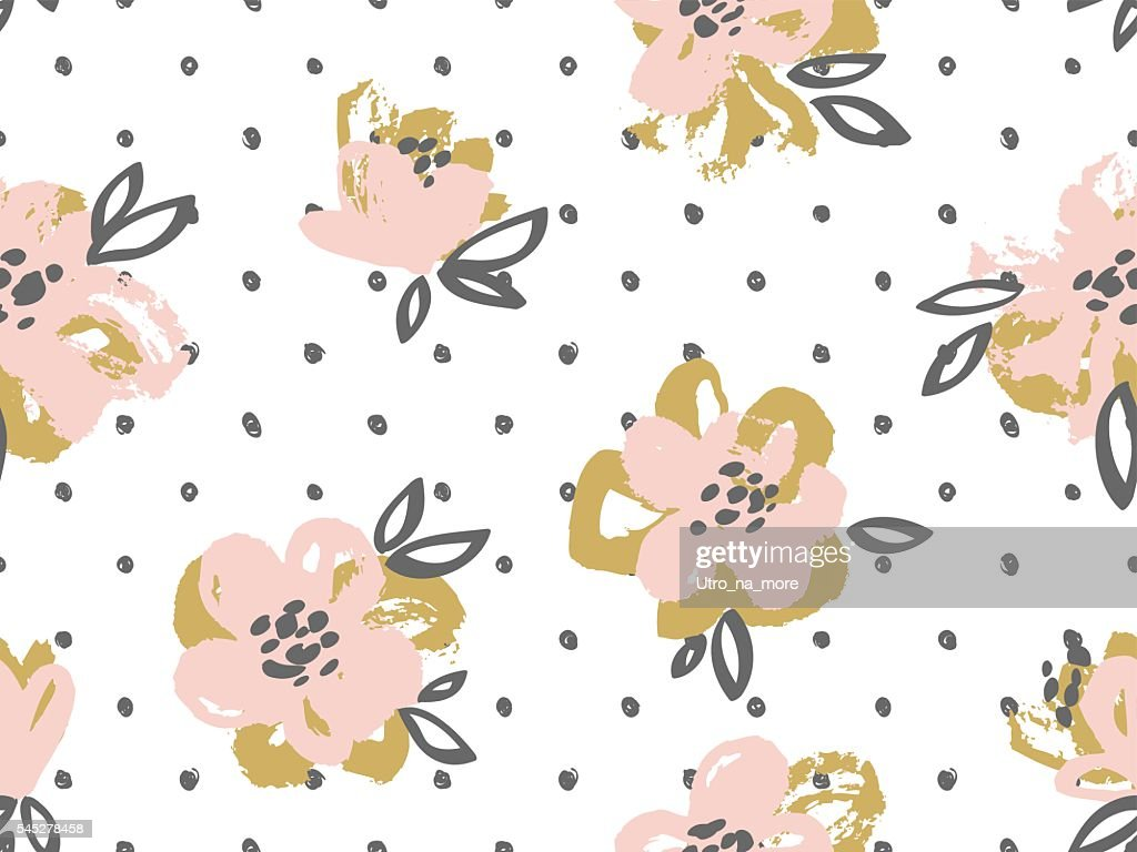 Seamless pattern with pink and gold flowers.