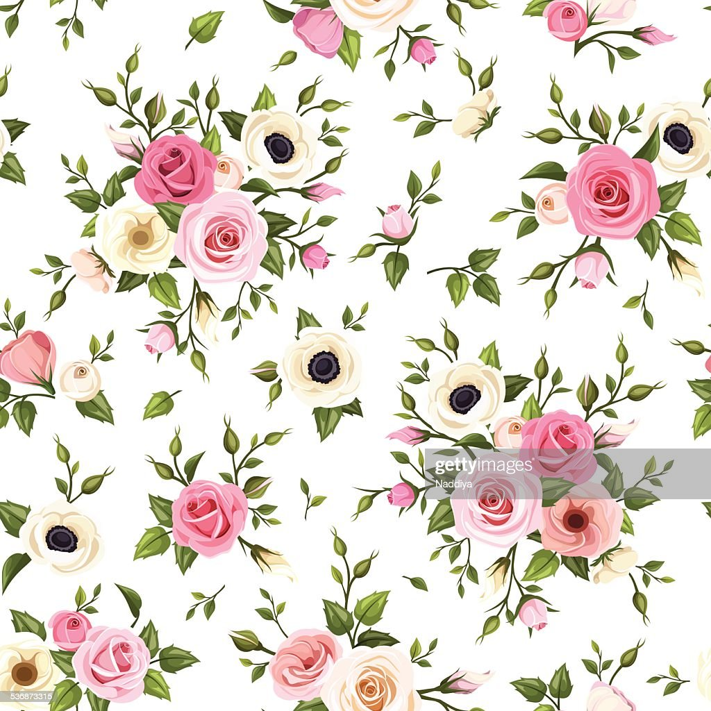 Seamless pattern with pink and white roses, lisianthus and anemone flowers