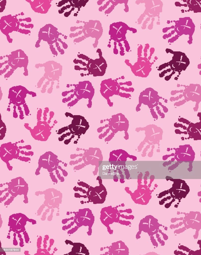 Seamless pattern with pink baby hands with ribbon