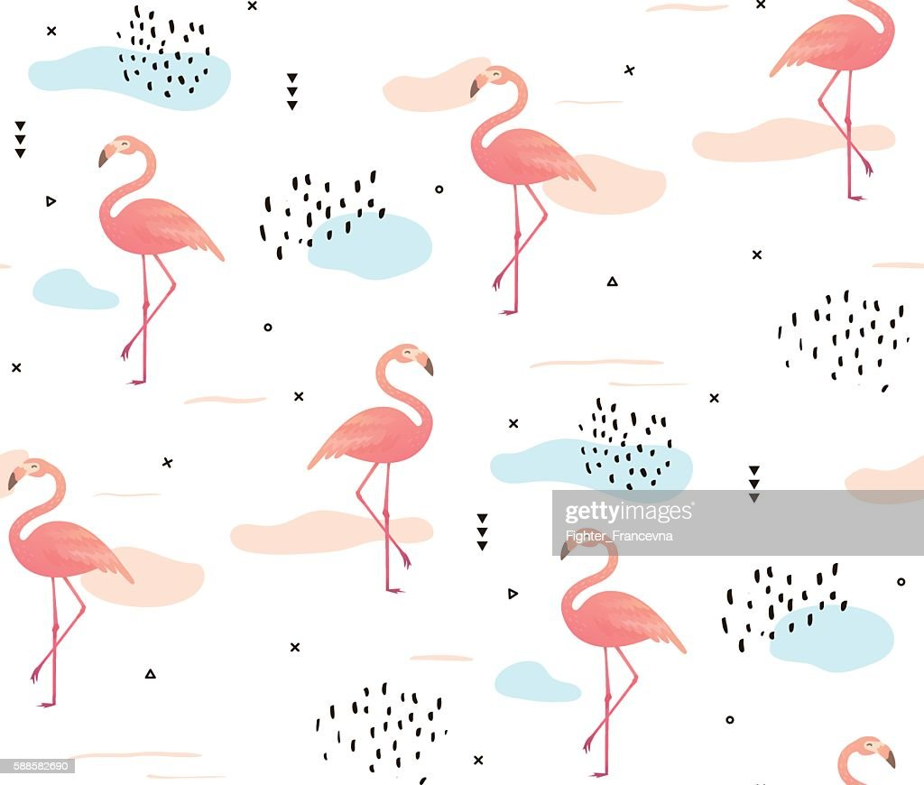 Seamless pattern with pink flamingos.